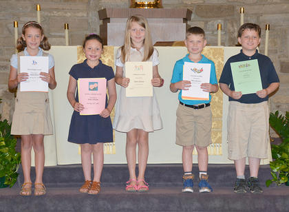 Second Grade students receiving awards were: Sutton Koch, Anne Aldridge, Haley Morgan, Miles Navarre, Jack Perrin.