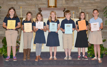 Third Grade students receiving awards were: front row, from left, Sarra Skinner, Madison Jones, Addison Perraut, Resa Heimlich, Sam Workman, Kate Gasser, Camille Hatfield.