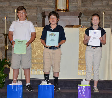 Fourth Grade students receiving awards were: Jackson Ware, Isaac Furnish, Grace Lang.