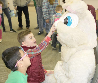 Luke Peak and Noah Allison were right at home with Peter Cottontail.