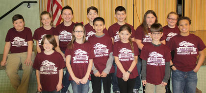 Eastside elementary governor's cup team  Back row from left, Clay Vaughn, Meredith Fryman, Sarah Arnold, J. R. McFarland, Alex Wiley, Savannah White and Chloe Vance. Front row, from left, Brennan Hoskins, Morgan Grose, Nathaniel Garcia, Shelby Fugate, John Craig and  Elijah Harris.