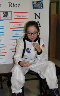 Fourth grade students at Northside Elementary School presented a wax museum on Thursday, Feb. 23. Students selected historical figures, researched that figure, created a visual display and became that character. The figure chosen had to be a US citizen, deceased, and had an impact on society.  Riley Grob chose Sally Ride as her historical figure.