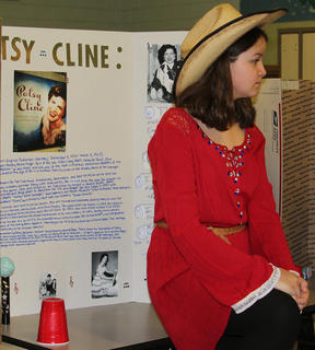 Fourth grade students at Northside Elementary School presented a wax museum on Thursday, Feb. 23. Students selected historical figures, researched that figure, created a visual display and became that character. The figure chosen had to be a US citizen, deceased, and had an impact on society.  Shelby Pulliam chose Patsy Cline as her wax figure.