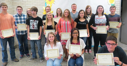 English Awards. Students receiving English awards were: Whitney Lemons, Jaden Chaudoin, Jason Dye, Danielle Kinney, McKayla Cloyd, Madeline Sparks, Gracie Turner, Adam Bradford, Devin Mattox, Melicity Fraley, Layton Childress, Allsion Conley, Abby Cooper, Lukas Slucher, Savannah Sawyers, Eric Smith. Absent from photo was Halee Tapp.