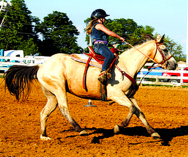 Ellie Henderson competed in the Youth Poles at the Harrison County Fair Fun Horse Show.
