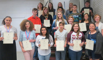Foreign Language (Spanish). Receiving awards were: Kaylee Clements, Allison Lawrence, Sol Enriquez, Haley Creech, Kasey Pike, Kimberly Barker, Austin Pickett, Rebekah Cain, Mersadeez Dietrich, Madeline Sparks, Lauren Ammerman, Savannah Sawyers, Michael Ortiz, Cody Howard, Alexis Lanza, Reagan Gorman, Madison Kellione, Briana Searp.