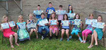 Governor's Cup. Students receiving Governor's Cup awards were: front row, from left, Chloe Fitzpatrick, Sophia Bowlin, Kaitlin Lewis, Josie Tucker, Maggie Davis, Charlotte Petty, CeCe Boland, Jaiyda Smith, Mary Canupp; second row, Braden Fields, Jonathan Graves, Wil Shirley, Hannah Mitts.