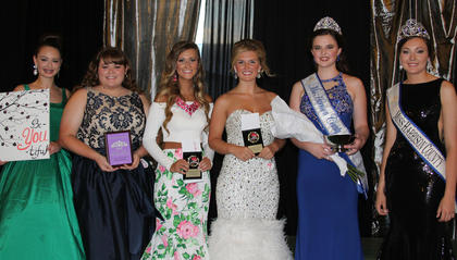 From left, Noel Howard-Best Theme Wear, Brooke Darnell (chosen by the contestants) was chosen for the Miss Congeniality Award, Chandlyr Puckett-Second Runner-up, Jaclyn Fryman-First Runner-up, Erin Bradford, Kaitlyn Oakley.