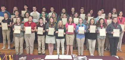 Honor Roll - Gold. Students receiving awards were: front row, from left, Zoe McComas, Callie McLoney, Allen Crump, Savanna Neace, Rachel Rion, Seanna Skinner, Hannah Spencer, Carli Withers, Lainey Vaughn, Madison Ward; middle row, Kathleen Clarke, Nycolas Conley, Devin Covert, Josh Myers, Madison Davis, Alexa Eubanks, Aaliyah Stidham, Brooklyn Jett, Zachary McComas, Aysia Whalen, Isabel Sims; top row, TJ Beamon, Jenna Berry, Jerred Roberts, Jeremiah Peveler, Dawson Covert, Andrew Fryman, Haylee Grissom, Kara Hines, Madison Denniston, Melanie Landrum, Cameron Jones, Jimmie Leigh McIlvain.