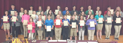 Honor Roll - Maroon. Students receiving awards were: front row, from left, Makenzie Florence, Sydney Furnish, Trenton Gerstein, Dakota Lawson, Javan Miller, Alex Sledd, Payton Slade, Alexis Wright; middle row, Haylee Bills, Brooklyn Campbell, Kennedy Davis, Katlyn Fitzpatrick, Makenzie Fister, Victoria Gibson, Olivia Hatterick, Kylie Hudgins, Riley Moses, Harleigh Mullins, Blaykelyn Northcutt, Sidney Sowder, Olivia Tucker, Kenley Tumey; top row, Blaine Biddle, Cindy Barker, Alex Beam, Athena Collins, Haley Covington, Brooke Dunaway, Logan Glascock, Jonathan Hamilton, Mason Hedges, Ethan Jette, Hannah Mullins, Colin Perkins, Brooklynn Phelps.