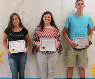 Harrison County Conservation Writing Award. Receiving the Conservation Writing awards were: from left, Madeline Sparks, Halee Tapp, Clay Furnish.