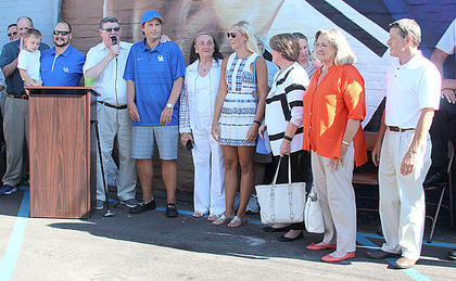 Some of Coach Hall's family joined him during the unveiling of the mural on Tuesday evening.