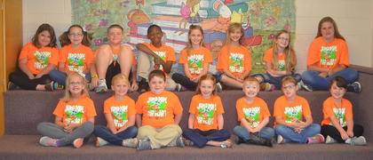 JUMP ROPE FOR HEART. Westside Elementary students who participated in the Jump Rope for Heart were: front row, from left, Madelynn Muntz, McKenzie Franklin, Luke Perkins, Leia French, Bryson Fleshman, Donna Jones, Taryn Brooks; back row, Caitlyn Byers, Debra Webb, Isaac Ross Blackburn, Demond Larue, Arwen French, Americas Perkins, Abigail Ritchie, Brooklyn Ross.