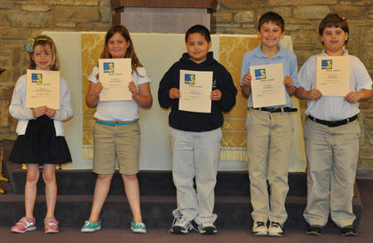 Math Awards. From left, Meredith Fryman, Avery Barnes, Samuel Finch, Ian Boland and Eli Hargett received the Math awards.