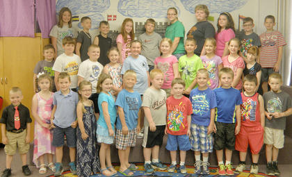 Receiving the K-5 Math awards were: front row, from left, Preston Cole, Marie Thaxton, Gannon Crump, Kiya Fizette, Ava Denniston, Jackson Herrington, Dallas Hannah, Samuel Mullen, Tanner Tumey, Daniel Simpson, Dwayne Beagle, Tyler Barnett; second row, Iziah Cole, Charlie Furnish, Wyatt Gaunce, Jae Kathryn Grose, Laci Davis, Ella Cash, Lucas Herrington, Kaley Robinson, Daelyn Morrison, Alexa Earls; third row, Athena Collins, Jacob Craycraft, Tanner Eckler, Kenley Tumey, Aaron Pickett, Mercadees Chambers, Jason Gant, Alexys Switzer, James Sumner, Riley Warmouth.