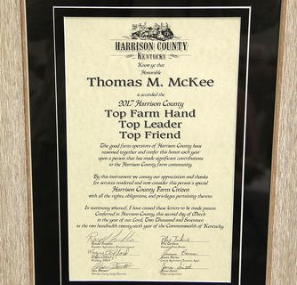 Gary Carter presented this placque to Tom McKee from the farming community.