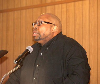 Pastor Anthony Stevenson of the Macedonia Baptist Church led the festivities at the church honoring Dr. King.