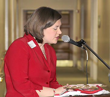 Mollie Smith served as emcee for Monday&#039;s event.