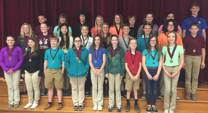 Newberry. Students recognized were: back row, from left, Kaden Streitenberger, Kaylee Northcutt, Patrick Marshall, Kendall Box, Elizabeth Allison, Will Johnson, Katie Coghill, Alexys Switzer, Benjamin Lemmings; middle row, Jaelyn Terhune, Morgynne Lunsford, Sarah McLoney, Laurel McDaniel, Hailey Herrington, Trent Fry, Molly Perkins, Javier Sexton, Riley Warmouth; front row, Jensen Sullivan, Hope Stiltner, Caden Maners, Madalynn Jones, Anna Garrison, Ava Craig, Alec Davisson, Amber Kern, Bailey Thompson.