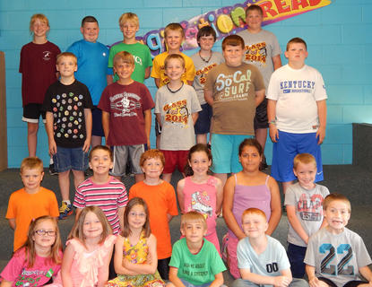 Eastside Elementary students receiving Perfect Attendance awards were: front row, from left, Dani Franklin, Alyssa Biddle, Morgan Grose, Lucas Whalen, Cameron Ritchie, Braden Sowder; second row, Grant Ferguson, JR McFarland, Chase Asbury, Kylar Childress, Kaitlynn Contreras, Chris Ogden; third row, Frazier Dailey, Cameron White, Alec Davisson, Logan Glascock, Landon Howard; back row, Kara Hines, Grayson Wallace, Vince Ferguson, Koty Roberts, Andrew Nickerson.