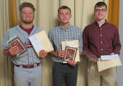 Perfect Attendance. Recognized for 4 years perfect attendance were: from left, Lukas Slucher, Kyler Williams, Will Marsh.