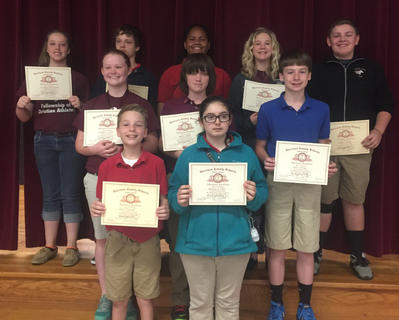 Perfect Attendance. Students recognized with Perfect Attendance awards were: back row, from left, Brooklynn McFarland, Logan Biddle, Telisha Adolf, Jaelyn Terhune, Marshall Canupp; middle row, Morgynne Lunsford, Dakota Roberts, Justin Smiley; front row, Alec Davisson, Madalynn Jones.