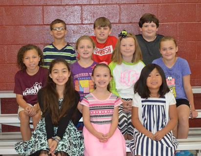 Perfect Attendance. Students recognized with Perfect Attendance were: front row, from left, Shantin Aguilar, Lynnsey Cash, Allyson Fenton; middle row, Keylee Custard, Ashlee Foxworth, Hayden Lunsford, Kira Spaulding; back row, Karter Brown, Colton Harney, Carson Landrum.