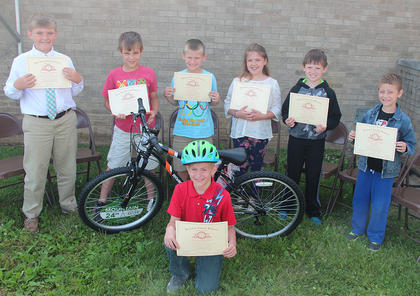 Perfect Attendance. Students awarded for Perfect Attendance were: front row, Timothy Sutton (winner of a bike); back row, Isaac Ross Blackburn, Elijah Insko, Johnathan Morris, Lesley May, Chevy Gray, T.J. Bryan.