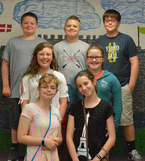 Presidential Awards of Excellence. Students receiving awards were: bottom row, from left, Haleigh Sharp, Lily Moses; second row, Jae Kathryn Grose, Whitney Dunaway; top row, Riley Bihl, Wyatt Gaunce.