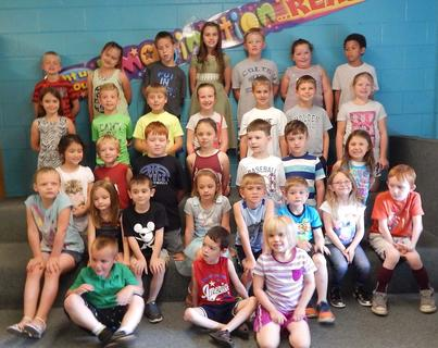 Reading and Math K-2. Students receiving awards were: top row, from left, Caden Tuel, Chloe Marsh, Braden Sowder, Aeowynne Wiley, Weslee Shields, Hannah Wagoner, JaCory Hinton; second row, Jade Bailey, Jackson Davis, Logan Harris, Campbell McCann, Jacob Phelps, Holden Wilson, Emorye Allen; third row, Kylee Linville, Brody Cox, Cooper Harney, Lauren Ecklar, Isaac Powers, Barrett McCann, Pandora Marquez; fourth row, Danielle Fryman, Ashley French, Sam Marsh, Amber Joseph, Colton Hutchison, Dylan Smith, Aleyah Beagle, Julian Blackwell; bottom row, Stephen McPhillips, Alex Spigles, Karli Pugh.
