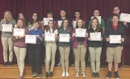 Maroon Reading Counts. Recognized were: front row, from left, Olivia Hatterick, Javan Miller, Riley Moses, Harleigh Mullins, Blaykelyn Northcutt, Kenley Tumey, Caleb Burns; top row, Brooklynn Phelps, Jimmie Leigh McIlvain, Victoria Gibson, Colin Perkins, Blaine Biddle, Tyler Sisson, Ethan Jette, Jerry Ingram.