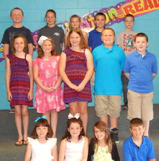 Students receiving Reading and Math awards were: front row, from left, Grace Wilson, Brooke Kinney, Sarah Pike, Lincoln Darell; second row, Abbygail Palmer, Addison Hoskins, Kaylee Hawkins, Dalton Maddox. Connor Harney; back row, Paul Coy, Olivia Hatterick, Brooke Phelps. Walker Wilson, Blake LeMaster.
