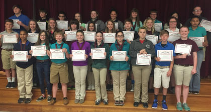 Reading Counts. Students receiving awards were: back row, from left, Mikey Cline, Tristan Thompson, Alexander Hein, Bailey Thompson, Katie Coghill, Hannah Delong, Kaylee Northcutt, Aaron Pickett, Sarah McLoney, Jerry Ingram; middle row, Trent Fry, Adyson Lakes, Hailey Herrington, Dakota Roberts, Anna Garrison, Kacey Brierly, Gavin Miller, Jaelyn Terhune, Gracie Wyatt, Alexis Bolton; front row, Tayvone Williams, Amber Kern, Caden Maners, Jensen Sullivan, Ava Craig, Madalynn Jones, Jenna Collins, JD Soard, Morgynne Lunsford.