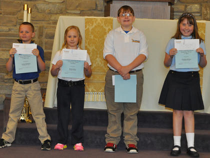 Overall Grand Prize Science Fair Winners. Students winning the Overall Grand Prize Science Fair were: from left,  first place (tie) - Calvin Heimlich, third - Rachel Rion, second - Riley Switzer, first (tie) - Seaanna Skinner.