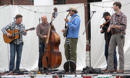 The headliner for the initial offering of the Summer Concert Series, The Wooks, pictured above, played many of their original Bluegrass tunes, as well as several covers of other bands' songs. Members of the band, from the left, are  CJ Cain, Roddy Puckett, Arthur Hancock, Jesse Wells and Galen Green.