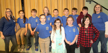 Southside elementary governor's cup team. Front row, from the left,  Karlie Gatrost, Sidney Cummings, Ashlee Foxworth and Camille Marshall. Back Row, from the left,  Emily Philpot (coach), Shantin Aguilar, Lukas Lunsford, Alyssa Hall, Rece Grubb, Trey Bramel, Tanner Stroub, Conner Tipton and Judy Clevinger (coach).
