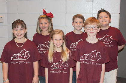 Primary Team. Southside Primary Battle of the Books team are: front row, from left, Madeline Williams, Chandler Vaughn (alt), Jack Whalen (alt); back row, Elisa Williams, Jack Midden (capt), Buck McDonald.