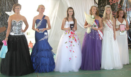 From left, Emily Lukins won best theme wear, Whitney Whitaker was first runner-up, Noel Howard second runner-up, Sydnie Lyons Miss Teen Harrison County, 2013 Miss Teen Harrison County Chandlyr Puckett, and Tori Watkins received the Patty L. Doyle Miss Congeniality award.