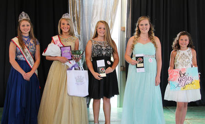 From left, Whitley Lemons, Kennedy Davis, Rileigh Funkauser-First Runner-up, Rebekah Cain-Second Runner-up, Lainey Vaughn-Best Theme Wear.