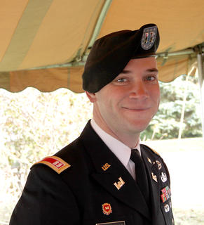 Capt. Jonathan Hoekzema, commander of the National Guard unit in Harrison County, gave the keynote address at the Veterans Day program on Saturday.