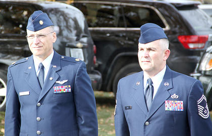 Major Jon Montgomery and SSgt Keven Deel from the HCHS ROTC program were on hand for the Veterans Day ceremony on Saturday morning.