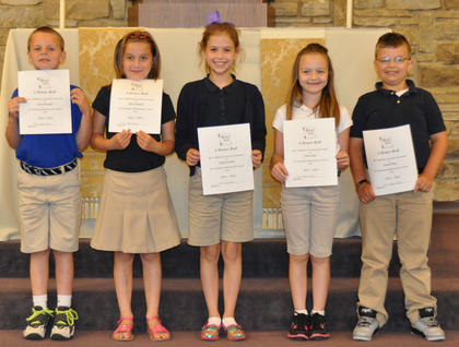 A Honor Roll. Students recognized on the A Honor Roll were: from left, Calvin Heimlich, Skylar Hatfield, Sydney Furnish, Grace Lang, Jackson Ware.