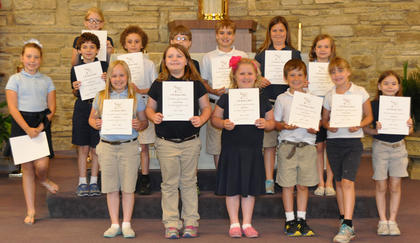 A/B Honor Roll. Students recognized on the A/B Honor Roll were: front row, from left, Rachel Rion, Grace Scrudder, Abigail Rion, Isaac Furnish, Jessica Hailey, Kaitlin Barry; second row, Seaanna Skinner, Nicholas Barry, Jacob LaFleur, Jacob Hargett, A.J. Perraut, Avery Barnes, Olivia Barry; third row, Morgan Cooper.