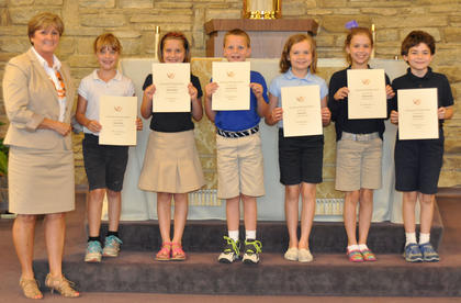 Grammar/Writing Award. Students receiving the Grammer/Writing award were: from left, Debbie Henson, Jessica Hailey, Skylar Hatfield, Calvin Heimlich, Olivia Barry, Sydney Furnish, Nicholas Barry.