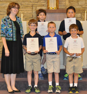 Math Award. Receiving the Math award were: front row, from left, Kendra Cooper, Jacob Hargett, Calvin Heimlich, Isaac Furnish; second row, Nicholas Barry, Samuel Finch.