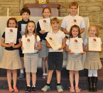 Outstanding Reading Achievement. Students receiving Outstanding Reading Achievement awards were: front row, from left, Skylar Hatfield, Grace Lang, Jessica Hailey, Kathryn Gasser, Resa Heimlich; second row, Nicholas Barry, Sydney Furnish, A.J. Perraut.