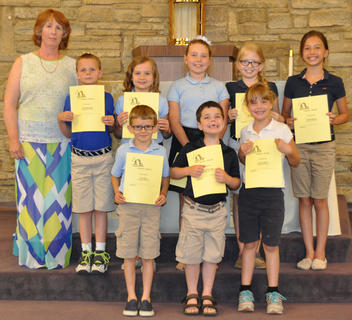 Science Award. Receiving the Science award were: front row, from left, Toby Barry, John Mikel Sidles, Jessica Hailey; second row, Debbie McKinley, Calvin Heimlich, Olivia Barry, Seaanna Skinner, Morgan Cooper, Victoria Gasser.