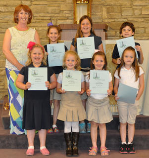 Social Studies Award. Students receiving the Social Studies award were: front row, from left, Abigail Rion, Resa Heimlich, Kathryn Gasser, Grace Lang; second row, Debbie McKinley, Sydney Furnish, Avery Barnes, Nicholas Barry.