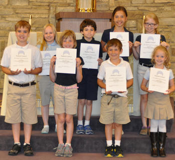 Student Council. St. Edward students serving on the Student Council were: front row, from left, A.J. Perraut, Meredith Fryman, Isaac Furnish, Resa Heimlich; second row, Rachel Rion, Nicholas Barry, Victoria Gasser, Morgan Cooper.