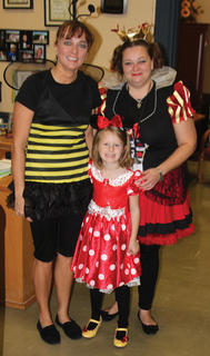 In the Westside front office, even staff caught literary costume fever. Featured are Addyson Teegarden, Candida Lewis, and Terri Yearsley as The Bee Movie bee, Minnie Mouse (love the yellow shoes), and the Queen of Hearts from Alice in Wonderland